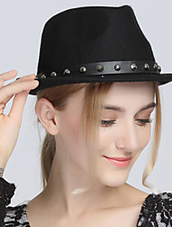 British Vintage Casual Woolen Jazz Rivet Flat Top Show hat