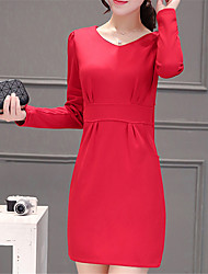 Fashion Long Sleeves V-neck OL Rendering Package Hip Jobs Wild Dress
