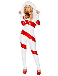 Disfraces de Cosplay Disfraces de Santa Cosplay de Películas Rojo A Rayas Leotardo/Pijama Mono Navidad Mujer Poliéster
