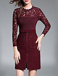 Women's Casual/Daily Sexy Sheath Dress,Jacquard Round Neck Above Knee Long Sleeve Red / Black Polyester Fall / Winter High Rise