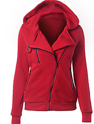 Women's Casual / Sports Solid / Active Long HoodiesSolid Loose Zipper Hooded Long Sleeve Spring / Fall