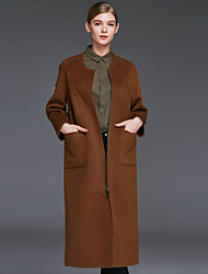 Xuanyan Women's Casual/Daily Simple CoatSolid V Neck Long Sleeve Winter Brown Wool