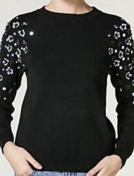 Women's Casual/Daily Vintage Long Pullover,Solid Black Round Neck Long Sleeve Cotton Spring Medium Stretchy