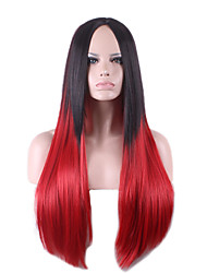 Long Medium Side Bang Straight Synthetic Wigs Black Mix Red Heat Resistant Hair