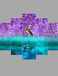 HD Print 5 piece/set Hummingbird bird purple water canvas painting Modular picture restaurant wall art decor No Frame
