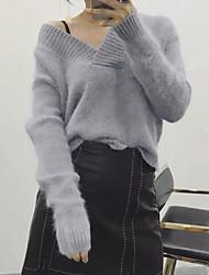 Damen Standard Pullover-Lässig/Alltäglich Einfach Solide Grau V-Ausschnitt Langarm Acryl Herbst Winter Mittel Mikro-elastisch