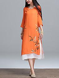 Ample Robe Femme Décontracté / Quotidien Plage Bohème,Imprimé Couleur Pleine Col Arrondi Midi Asymétrique Manches ¾ Vert Orange LinEté