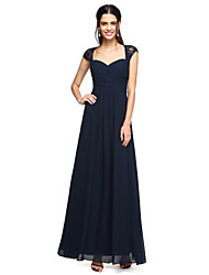 A-Line Sweetheart Floor Length Chiffon Lace Bridesmaid Dress with Ruching Sequins Criss Cross by LAN TING BRIDE®