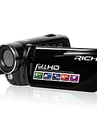 RICH Plástico Filmadora 720P / 1080P Preta
