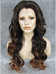 IMSTYLE 24''Popular Ntural Looking Black Brown Mix Long Wave Synthetic Lace Front Wig Heat Resistant