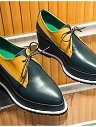Women's Oxfords Comfort Cowhide Casual Black Green