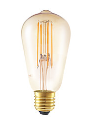 4W E26/E27 LED лампы накаливания ST58 4 COB 350 lm Янтарный Регулируемая / Декоративная AC 220-240 V 1 шт.