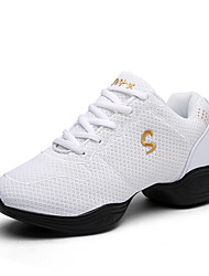Women's Dance Shoes Fabric Fabric Dance Sneakers Sneakers Flat Heel Practice / Outdoor Black / Red / White