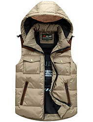 Men's Regular Down Coat,Simple Plus Size / Casual/Daily Solid-Polyester White Duck Down Sleeveless Red / Brown