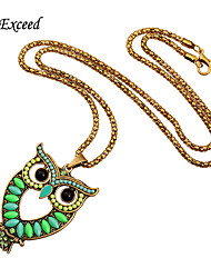 Brand New Arrival Colorful Acrylic Owl Vintage Jewelry Gold Chain Necklace NL158680