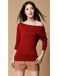 Damen Kurz Pullover-Lässig/Alltäglich Einfach Solide Rosa / Rot / Weiß Bateau Langarm Polyester Herbst Mittel Mikro-elastisch