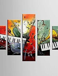 Pintados à mão Abstracto / Lazer Pinturas a óleo,Modern / Clássico 5 Painéis Tela Hang-painted pintura a óleo For Decoração para casa