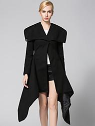 Women's Elegent Slim Long Irregular Trench CoatSolid V Neck Long Sleeve Fall Black Wool Thick