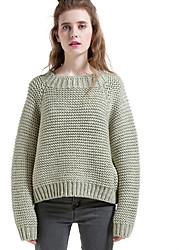 Damen Lang Pullover-Lässig/Alltäglich Einfach Solide Grün Rundhalsausschnitt Langarm Wolle Herbst Winter Mittel Mikro-elastisch