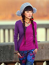Damen Standard Pullover-Lässig/Alltäglich Einfach Einfarbig Grün Orange Lila Rundhalsausschnitt Langarm Polyester Herbst Mittel