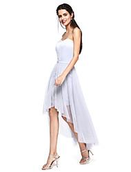 TS Couture® Soirée Cocktail Robe - Robe Convertible Trapèze Coeur Asymétrique Satin / Tulle avec Ceinture / Ruban