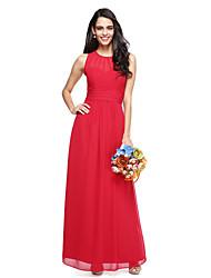2017 Lanting Bride® Floor-length Chiffon Open Back Bridesmaid Dress - Sheath / Column Jewel with Sash