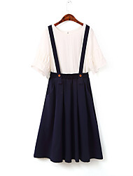 Women's A Line Solid Skirts,Going out / Casual/Daily Vintage / Simple Mid Rise Above Knee Elasticity Cotton Micro-elastic Spring / Summer