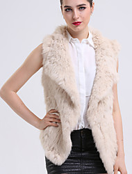BF-Fur Style Women's Casual/Daily Sophisticated Fur CoatSolid Shirt Collar Sleeveless Winter Beige / Gray Rabbit Fur