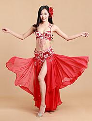 Dança do Ventre Roupa Mulheres Actuação Elastano / Poliéster Lantejoulas / Frente Dividida 3 Peças Sem Mangas NaturalSaia / Conjuntos de