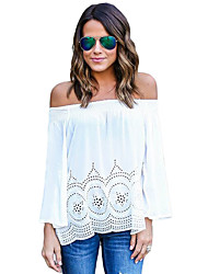 Women's White Off Shoulder Flared Sleeves Boho Top