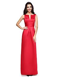 TS Couture® Formeller Abend Kleid - Elegant Eng anliegend Gekerbt Boden-Länge Satin mit Schärpe / Band / Horizontal gerüscht / Plissee