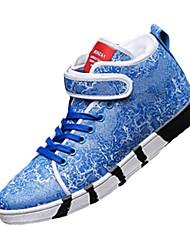 Femme-Décontracté-Noir / Bleu / Blanc-Talon Plat-Confort-Sneakers-Microfibre