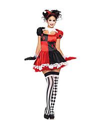 Fest/Feiertage Halloween Kostüme Rot/Schwarz Patchwork Rock / Hosen / Handschuhe / Kopfbedeckung Halloween / Weihnachten / Karneval Frau