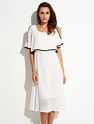 Women's Off The Shoulder|Ruffle Casual/Daily Simple Chiffon Dress,Solid Round Neck Maxi ½ Length Sleeve White Polyester Summer