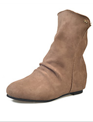 Women's Boots Winter Comfort Suede Casual Chunky Heel Split Joint Black Red Khaki