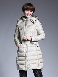 Women's Regular Down Coat,Simple Casual/Daily Solid-Cotton White Duck Down Long Sleeve Beige / Black