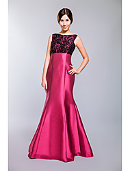 Formal Evening Dress Trumpet / Mermaid Bateau Floor-length Tulle / Mikado with Beading