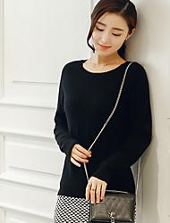 Damen Standard Pullover-Ausgehen Party/Cocktail Urlaub Retro Street Schick Anspruchsvoll Solide Schwarz Grau Rundhalsausschnitt Langarm