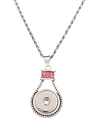 Rhinestone Pendant Necklaces Jewelry Party / Daily / Casual Euramerican / PersonalizedAlloy / DIY Ginger Snap Button Racket Chain Necklace
