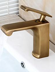 centerset de la válvula de cerámica tradicional sola manija con un orificio de latón antiguo grifo de lavabo del baño