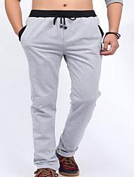 Masculino Reto Chinos / Calças Esportivas Calças-Cor Única Casual Simples Cintura Média Com Cordão Algodão Micro-ElásticoCom Molas /