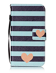 For LG K10 K8 K7 LS770 LS775 V20  Case Cover Striped Love Pattern Painting Card Stent PU Leather