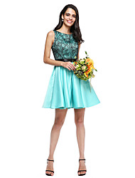 LAN TING BRIDE Short / Mini Jewel Bridesmaid Dress - Mini Me Sleeveless Lace Satin