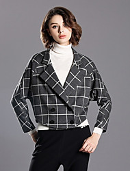 INPLUS LADY Women's Casual/Daily Simple Winter BlazerCheck Notch Lapel Long Sleeve Gray Nylon