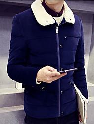 Masculino Curto Casaco Capa,Simples Sólido Informal / Casual / Férias-Poliéster Penas de Ganso Branco Manga Longa Colarinho de CamisaAzul