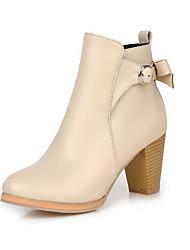 Women's Low Top Zipper High Heels Round Closed Toe Boots