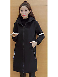 Winter new Korean Hooded long sections woolen coat was thin female loose long-sleeved black woolen coat