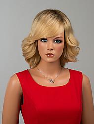 élégant capless mi-longueur perruques onde naturelle perruques ombre de cheveux humains