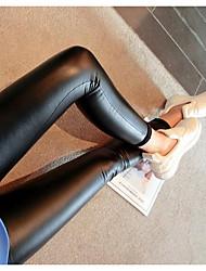 Feminino Delgado Jeans Calças-Cor Única Festa/Coquetel Sexy Cintura Média Elasticidade PU Micro-Elástico Com Molas