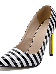 Stripe pointed mouth shallow lattice-windows documentary party shoes for women's shoes